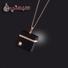 Silver 925 Casual Pendant with Diamond and Onix Stones